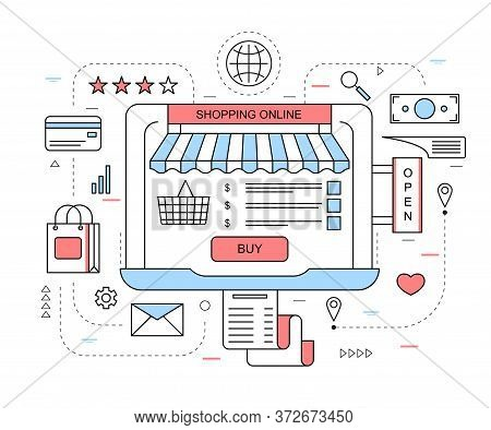 Purchasing Goods Internet Concept Contour Linear Style Include Of Credit Card And Bag. Vector Illust