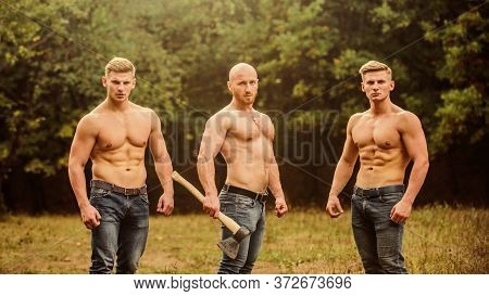 Great Progress. Sport Concept. Sexy Men With Muscular Torso. Brutal Macho Style. Strong Men Are Sexy