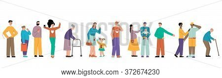 Turn People Set With Isolated Flat Characters Waiting For Their Turn In Queue On Blank Background Ve