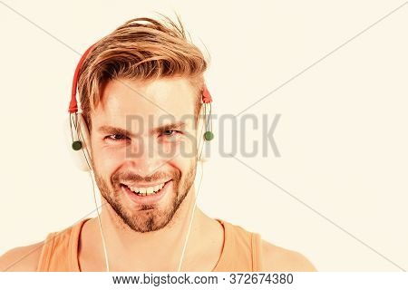 Enjoy Perfect Music Sound Headphones. Sale Discount. Music Fan Concept. Man Guy Listening Music Head