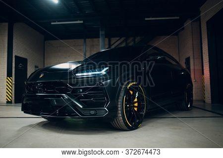 Lamborghini Urus Black Color Sports Car Close Up.