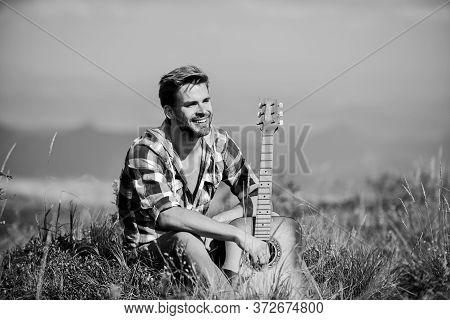 Dreamy Wanderer. Wanderlust Concept. Inspiring Nature. Musician Looking For Inspiration. Summer Vaca