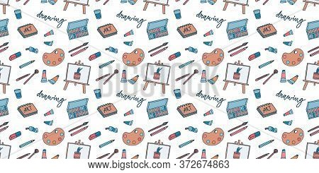 Vector Seamless Pattern With Art Supplies. Children Hobby Club Background. Wrapping Paper For Birthd