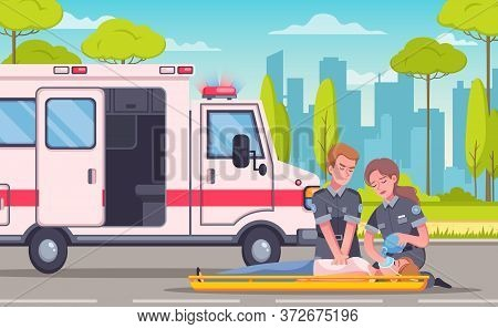 Paramedic Emergency Ambulance Cartoon Composition With Urban Landscape Medical Car And Group Of Doct
