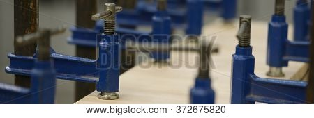 Metallic Utilities Used On Carpentry Workbenches For Wood Crafting Works In Big Rusty Workshop Openf