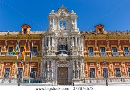 Facade Of The Historic San Telmo Palace In Sevilla, Spain