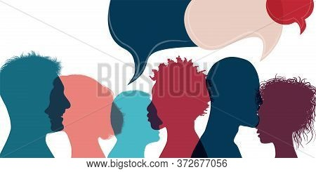 Silhouette Heads People In Profile.diversity People.speech Bubble.talking Dialogue And Inform.commun
