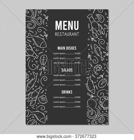 Hand Drawn Menu Template Of Seafood Elements, Fish, Lobster, Oyster, Octopus, Shrimp. Doodle Sketch
