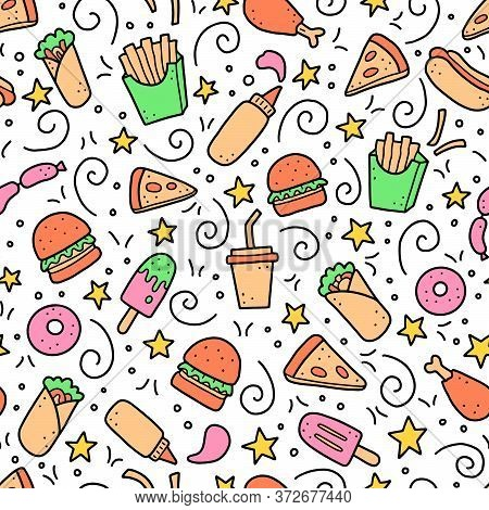 Hand Drawn Seamless Pattern With Fast Food Elements, Burger, Pizza, Sandwich, Hamburger, Snack. Dood
