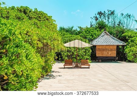 Tropical Trees Around A Wooden Bungalow In The Lush Greenery Of The Island. A Small Bungalow In The