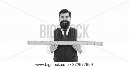 Open Mind For Different View. School Teacher. Size Really Matters. Man Bearded Hipster Holding Ruler