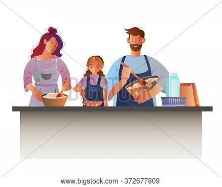 Culinary Vector Concept With Smiling Mother, Father, Little Daughter Cooking Together. Cartoon Illus