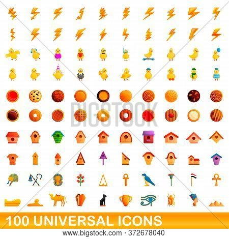 100 Universal Icons Set. Cartoon Illustration Of 100 Universal Icons Vector Set Isolated On White Ba