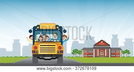 Happy Smiling Kids Riding On A Yellow School Bus With A Driver On School Building View Background. V
