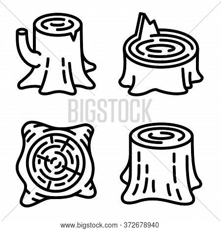 Stumps Icons Set. Outline Set Of Stumps Vector Icons For Web Design Isolated On White Background