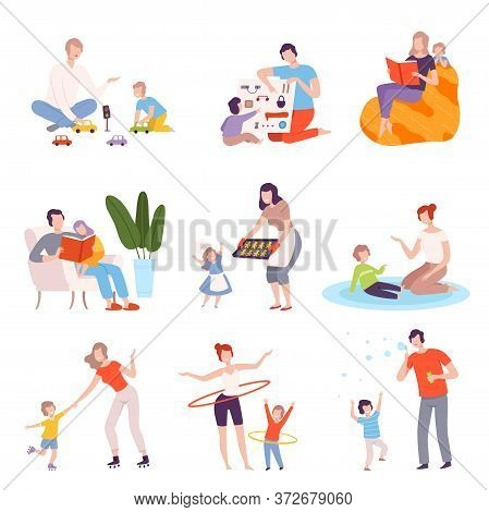 Parents And Kids Spending Time Together At Home Set, Fathers And Mothers Playing, Reading, Cooking A