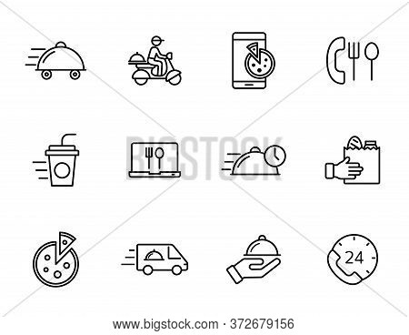 Food Delivery Linear Vector Icons Isolated On White Background. Food Delivery Outline Icon Set For W