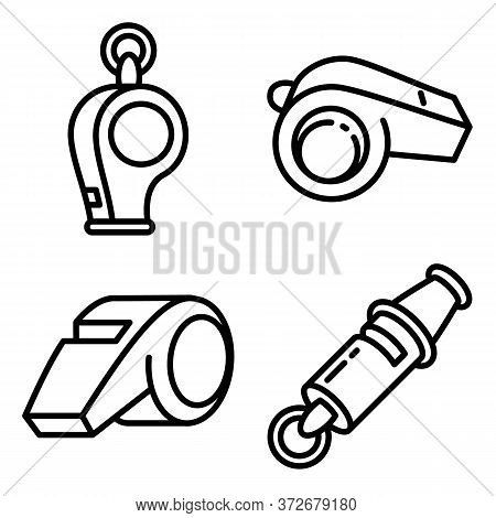 Whistle Icons Set. Outline Set Of Whistle Vector Icons For Web Design Isolated On White Background