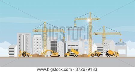 Process Of Construction Of Big Building Dormitory Area.under Construction Building Work Process With