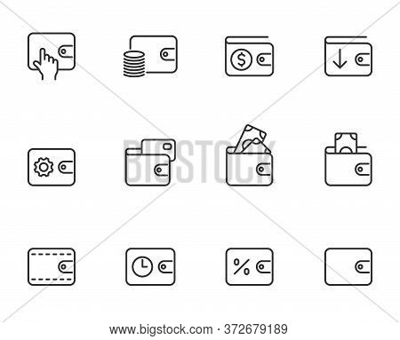 Wallet Line Vector Icons Isolated On White. Wallet Commercial Business Linear Icon Set For Web, Mobi