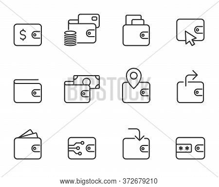 Wallet Outline Vector Icons Isolated On White Background. Wallet Commercial Business Line Icon Set F