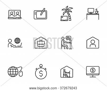 Remote Work Linear Vector Icons Isolated On White. Work At Home Because Of The Covid-19 Coronavirus