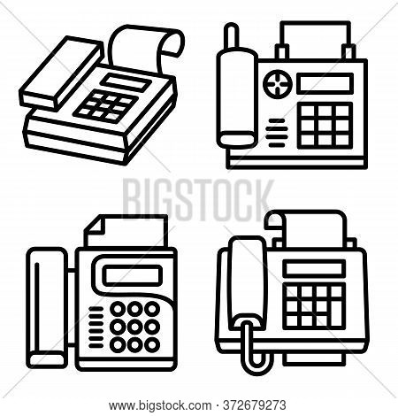 Fax Icons Set. Outline Set Of Fax Vector Icons For Web Design Isolated On White Background