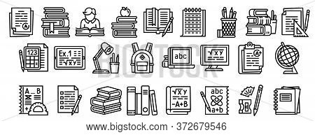 Homework Icons Set. Outline Set Of Homework Vector Icons For Web Design Isolated On White Background