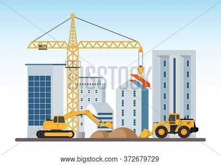 Under Construction Building Work Process With Construction Machines.process Of Construction Of Big B
