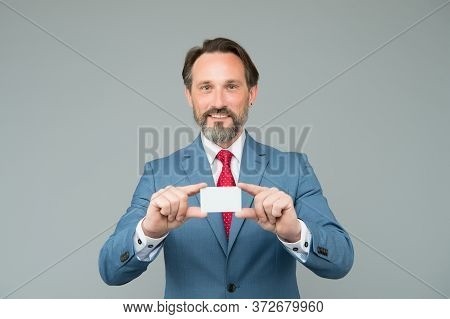Confident Man In Smart Wear Hold Card. Showing His Business Card. Expert In Legal Affairs. Mature Ge