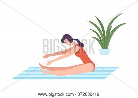 Young Woman In Sportswear Seated Forward Bend Pose, Girl Doing Sports In Fitness Club, Gym Or Home,
