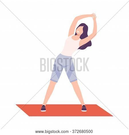Young Woman In Sportswear Doing Side Bend Stretch, Girl Exercising In Fitness Club, Gym Or Home, Act