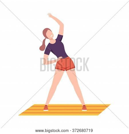 Young Woman In Sportswear Doing Side Bend Stretch In Fitness Club, Gym Or Home, Active Healthy Lifes
