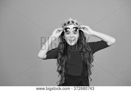 Love Myself. Egoist Child. Little Girl Wear Prop Crown And Glasses. Small Egoist With Ambition. Egoi