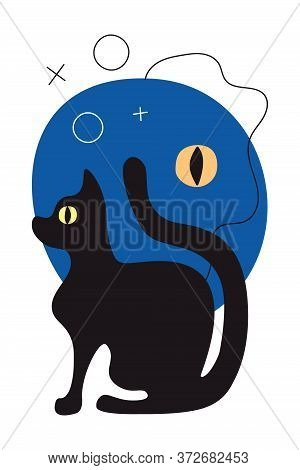 Vector Greeting Card With Abstract Night, Eye Of A Black Cat In Flat Style. Vertical Greeting Card W