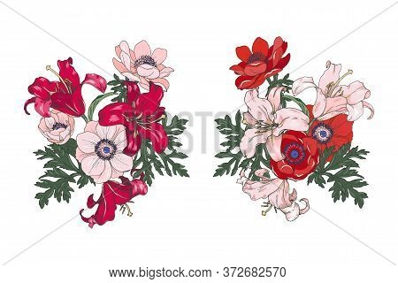 Red And Pink Flowers Of Lilies And Anemones, Garden Flower Arrangements, Set, Vector Illustration
