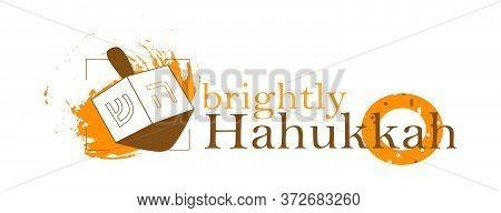 Hanukkah And Chanukah Jewish Holiday Poster With Wooden Dreidel, Donut In Modern Design. Vector Illu