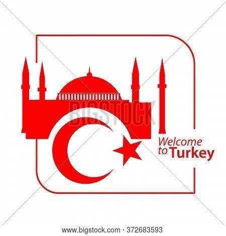 Traditional Turkey Symbols, Red Crescent Moon, Star And Hagia Sophia Museum Or Ayasofya Muzesi In Is