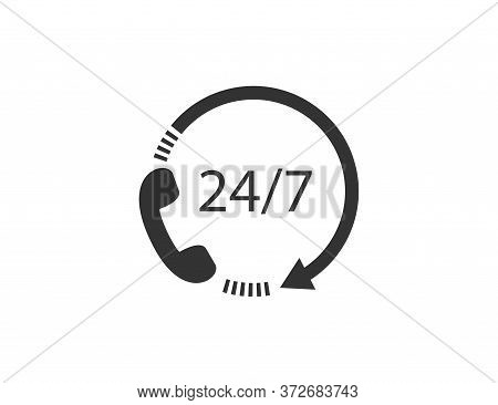 24 7 Icon With Phone Symbol. Support Service In Clock Style. 24h Contact Center With Arrow. Work Tim