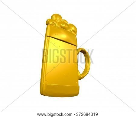 3d Render Of Beer In Glass Draught, Hand, Liquid, Bubble, Froth, Full, Splashing, Foam,