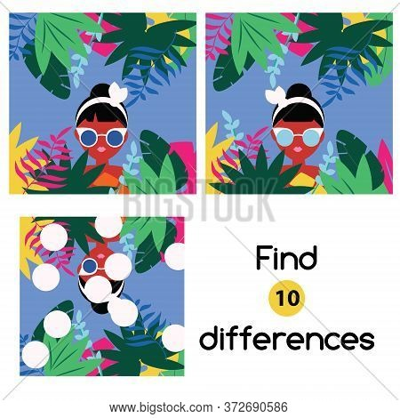 Find The Differences Educational Children Game. Kids Activity With Summer Scene