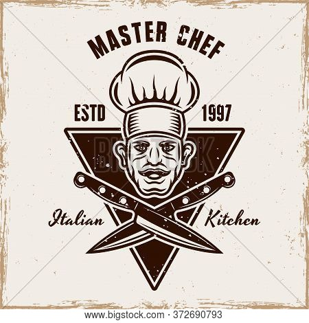 Master Chef Head And Two Crossed Knives Vector Cooking Emblem, Badge, Label Or Logo. Illustration In