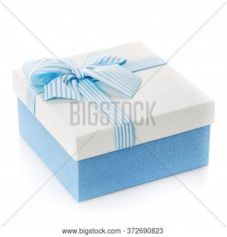 Blue Gift Box With Ribbon And Bow On White Background.