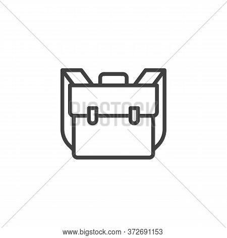 School Bag, Knapsack Line Icon. Linear Style Sign For Mobile Concept And Web Design. Backpack, Rucks