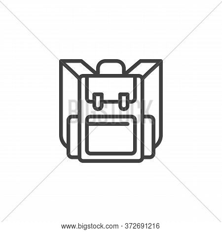 Knapsack, Backpack Line Icon. Linear Style Sign For Mobile Concept And Web Design. Hiking Bag Outlin