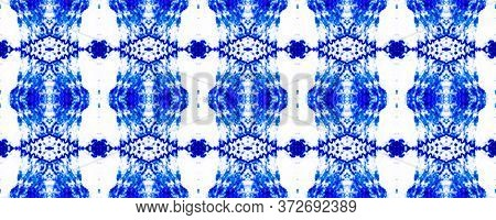 Bohemian Tile Design. Delicate Lace Motifs. Mottled Floral Print. Blue Seamless  Majolica Tiles Prin