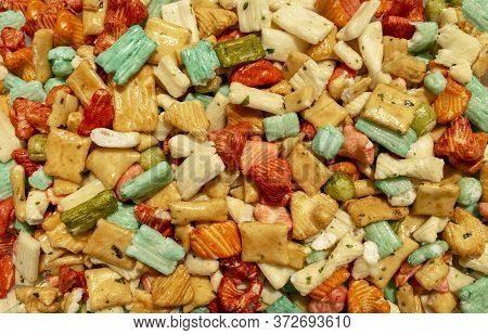 Background Made Of Traditional Colorful Tokyo Mix Or Japan Mix. Japanese Rice Crackers Backdrop. Top