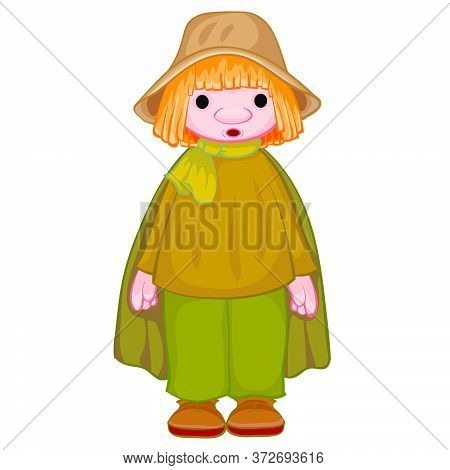 Peasant In A Gray Hat And Black Cloak, Doll, Isolated Object On A White Background, Vector Illustrat