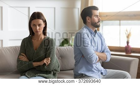 Frustrated Thoughtful Girlfriend Ignoring Boyfriend After Quarrel, Bad Relationship