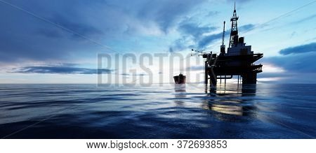 Oil platform on the ocean. Offshore drilling for gas and petroleum or crude oil. Industrial 3D render